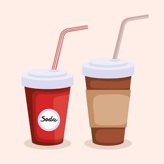 소다와 플라스틱 용기에 커피 프리미엄 벡터