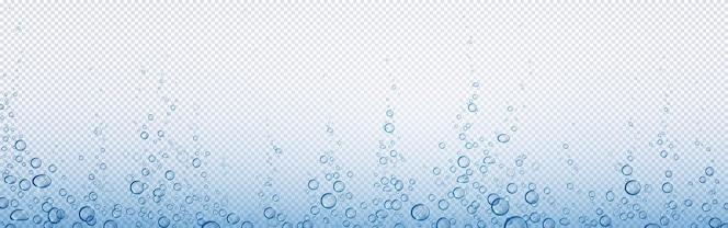 ソーダの泡、水または酸素の空気のフィズ、炭酸飲料、水中の要約。