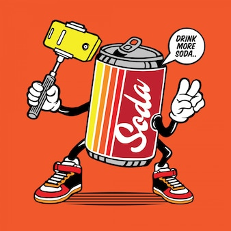 Soda can selfie character