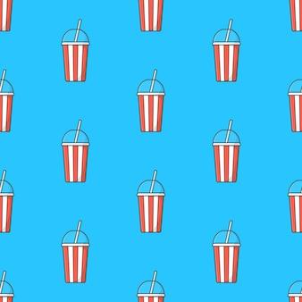 青い背景にソーダカップのシームレスなパターン。テーマイラストを飲む