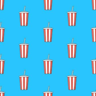 青い背景にソーダカップのシームレスなパターン。ソーダのテーマのベクトル図