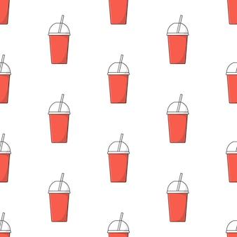 白い背景の上のソーダカップのシームレスなパターン。テーマイラストを飲む