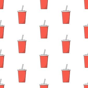 白い背景の上のソーダカップのシームレスなパターン。ソーダのテーマのベクトル図