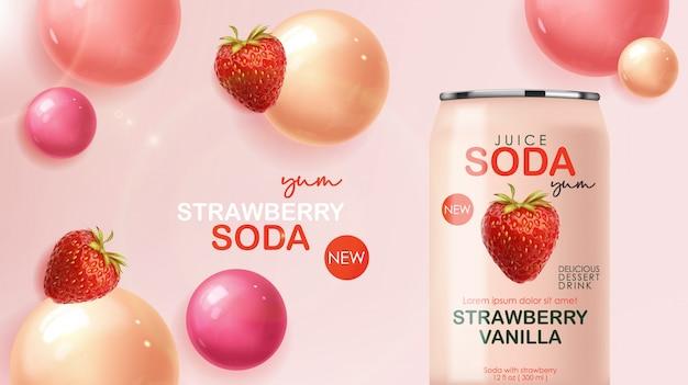 딸기 과일과 거품이있는 금속 캔에 들어있는 소다 음료, 3d 현실적인 분홍색 여름 음료, 패키지 디자인