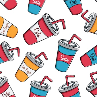 Soda drink cups with straw in seamless pattern