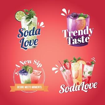 소다 음료 로고 디자인 수채화 일러스트