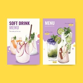 カフェとビストロの水彩イラストのソーダドリンクメニューテンプレート