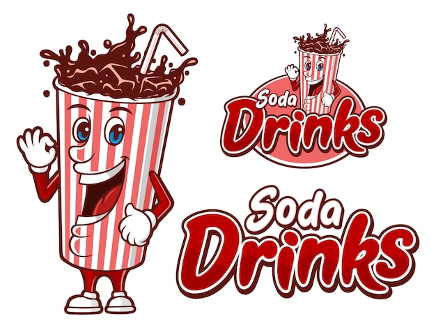 Soda drink in a paper cup, logo template with funny character