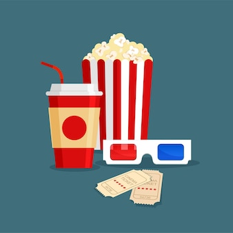 Soda drink, popcorn in classic striped red white cardboard box, tickets and 3d glasses in cartoon style