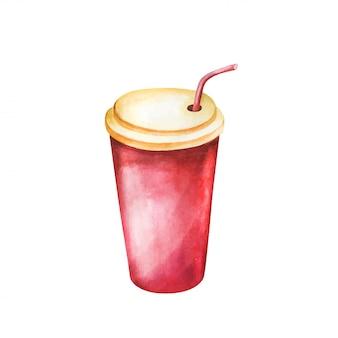 白い背景に分離されたソーダ飲み物水彩画
