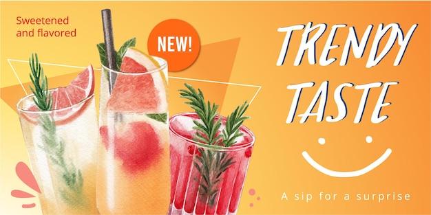 트위스터 배너 템플릿 디자인 소다 음료