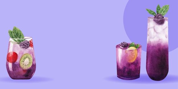 Содовый напиток с дизайном шаблона твистера для акварельной иллюстрации интернет-маркетинга