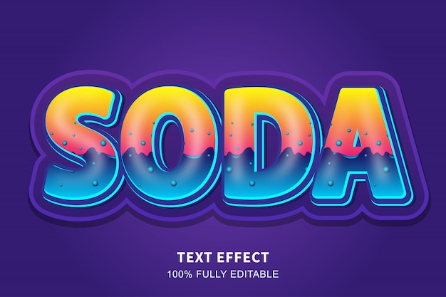 Soda liquid style 3d text effect, editable text