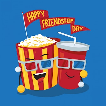 Soda and popcorn friendship day concept illustration