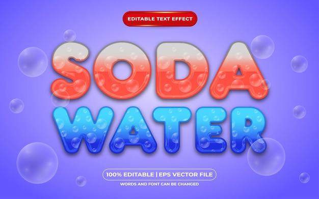 Редактируемый текстовый эффект содовой воды жидкий стиль