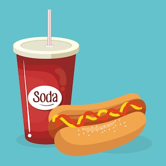 Soda with hot dog fast food