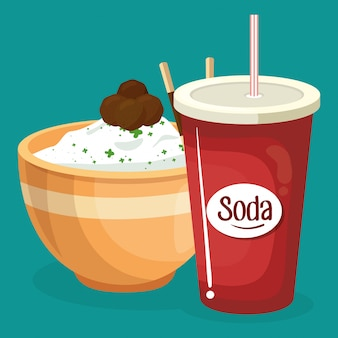 Soda with rice fast food