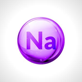 나트륨 나트륨 미네랄 캡슐. 비타민 건강. 의료용 나트륨 또는 나트륨 다이어트 식품 보충제.