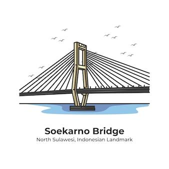 Soekarno bridge indonesian landmark cute line illustration
