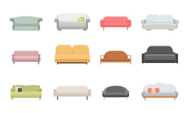 Установить диван и кушетки мебель плоские векторные иконки. стиль иллюстрации шаржа.