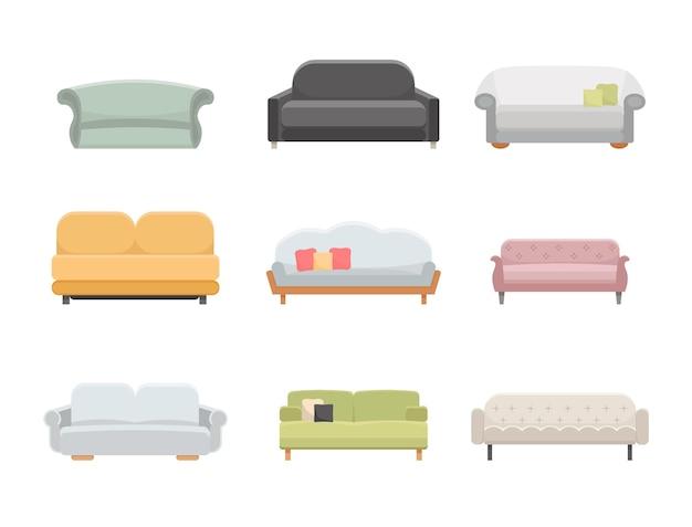 ソファとソファの家具フラットベクトルアイコンを設定します。漫画のイラストスタイル。