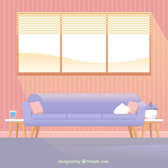 Sofa and window in house interior