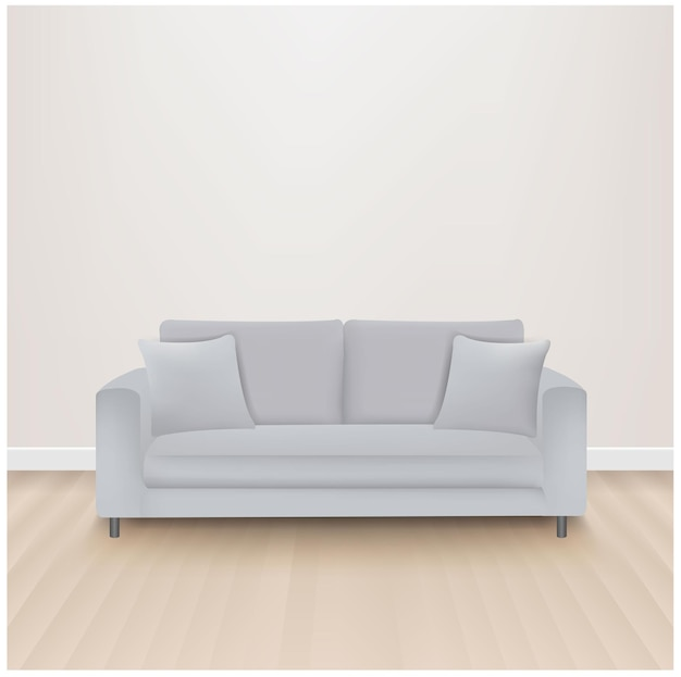 Sofa bed with isolated grey background with gradient mesh