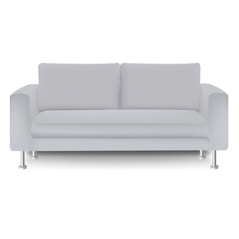 격리 된 흰색 배경으로 소파 침대