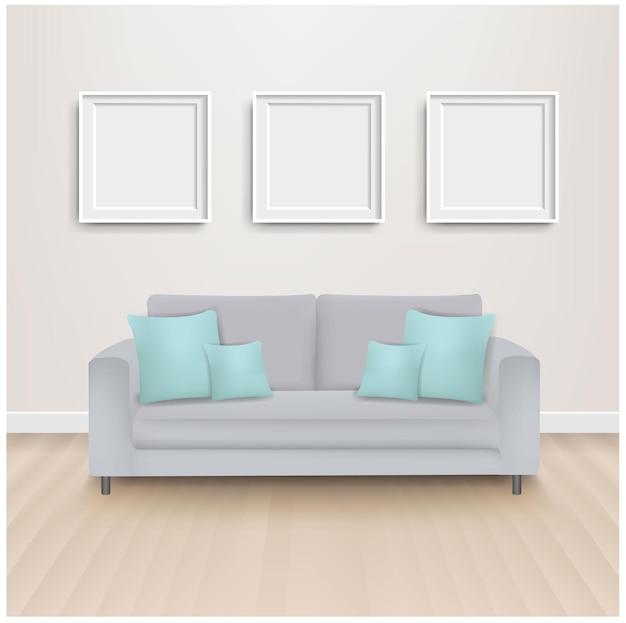 ミント枕とグラデーションメッシュの写真付きソファベッド