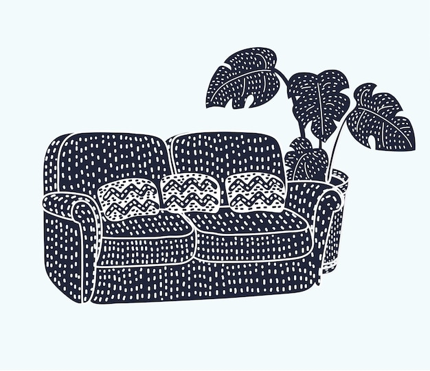 Sofa black silhouette icon
