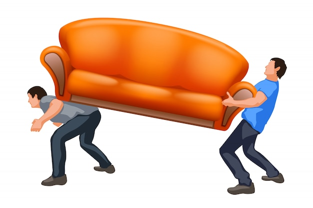 Sofa carrying two guys