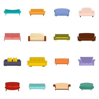 Sofa chair room couch icons set vector isolated
