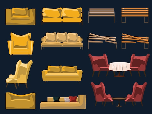 Sofa and chair set vector illustration