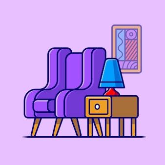 테이블 및 램프 만화 벡터 아이콘 일러스트와 함께 소파의 자. 인테리어 실내 아이콘 개념 절연 프리미엄 벡터입니다. 플랫 만화 스타일