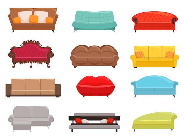 Sofa collection. comfortable couch and sofa-bed set, interior fashion sofas furniture, house modern canaps vector colored illustration