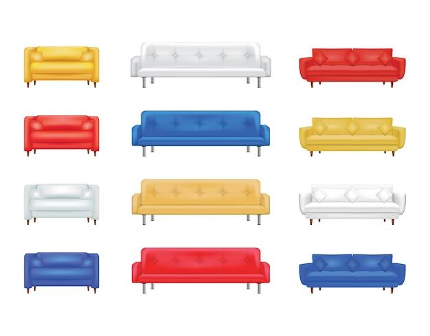 ソファ色セット。インテリアデザインの白い背景に分離された快適なソファコレクション。