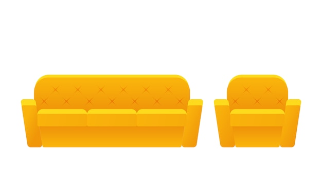 Sofa, couch, armchair icon. . furniture in flat . animated yellow house equipment for living room isolated . cartoon set elements for lounge.