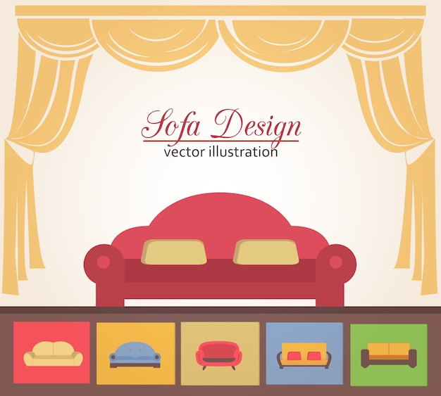 Sofa or couche design poster elements