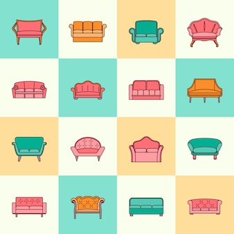 Sofa couches modern furniture interior collection icons flat line set isolated vector illustration