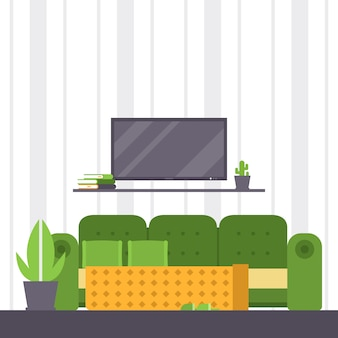 Sofa furniture couch seat furnished interior design of living-room at apartment home illustration