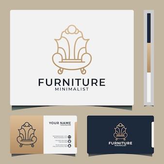 黄金色のソファ家具ロゴデザインテンプレート。ミニマリストと贅沢