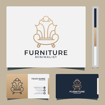 Sofa furniture logo design template with golden color. minimalist and luxury