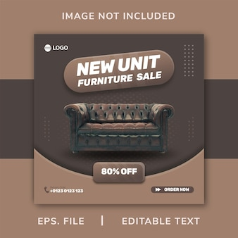 Sofa furniture social media promotion and instagram banner post design template