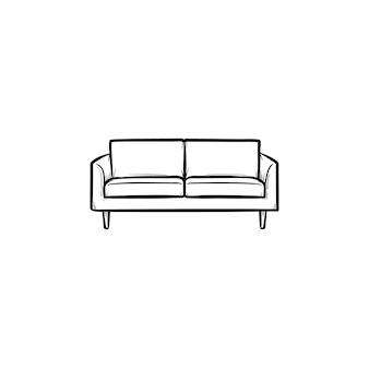 Диван рисованной наброски каракули значок. современная мебель - диван вектор эскиз иллюстрации для печати, интернета, мобильных и инфографики, изолированные на белом фоне.