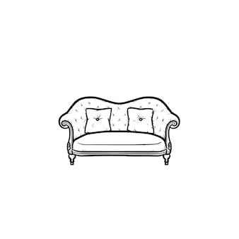 Диван рисованной наброски каракули значок. обивка дивана с подушками вектор эскиз иллюстрации для печати, интернета, мобильных устройств и инфографики, изолированные на белом фоне.
