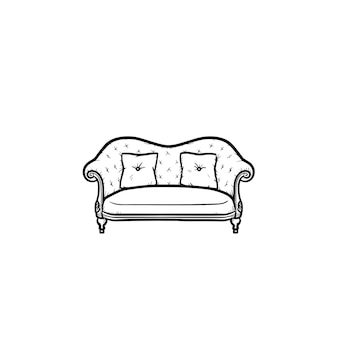 Sofa hand drawn outline doodle icon. upholstery sofa with cushions vector sketch illustration for print, web, mobile and infographics isolated on white background.