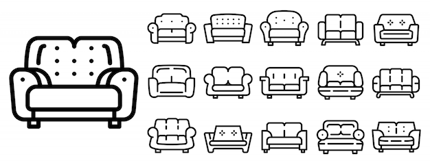 Sofa icons set, outline style