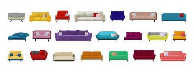 ソファ分離漫画セットアイコン。白い背景の上のイラストのソファ。家具漫画は、アイコンを設定します。