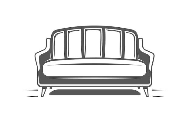 白い背景で隔離のソファ。