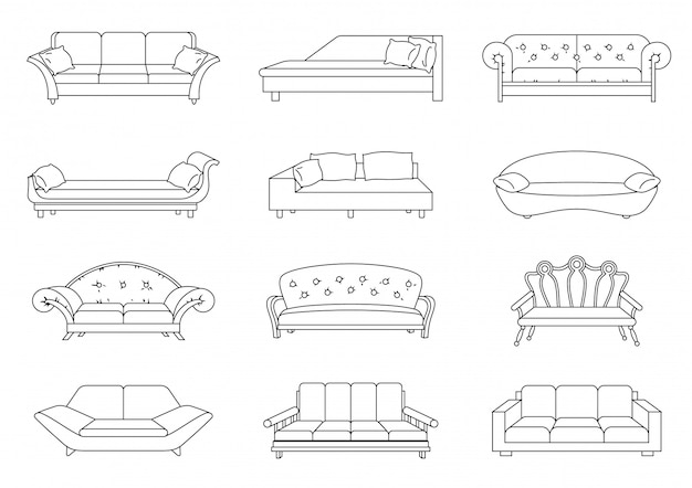 Sofa lineart vector set. collection of sofa illustration. stock vector. coloring book.